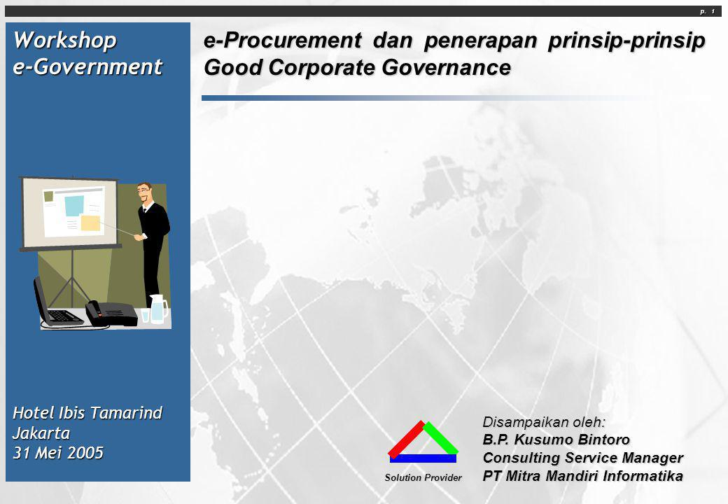 Workshop e-Government Hotel Ibis Tamarind Jakarta 31 Mei 2005