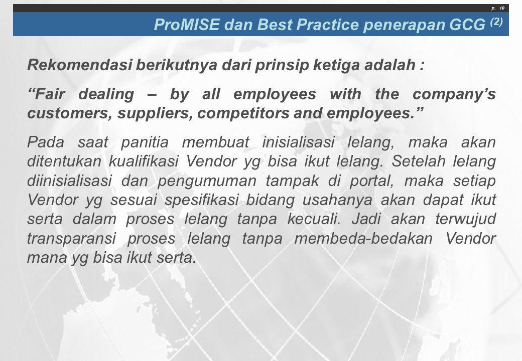 ProMISE dan Best Practice penerapan GCG (2)