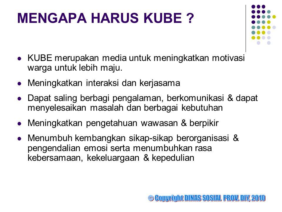 MENGAPA HARUS KUBE KUBE merupakan media untuk meningkatkan motivasi warga untuk lebih maju. Meningkatkan interaksi dan kerjasama.