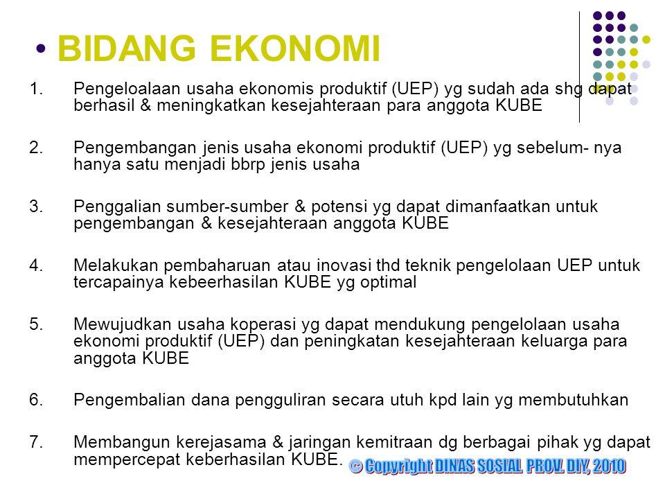 BIDANG EKONOMI 1. Pengeloalaan usaha ekonomis produktif (UEP) yg sudah ada shg dapat berhasil & meningkatkan kesejahteraan para anggota KUBE.