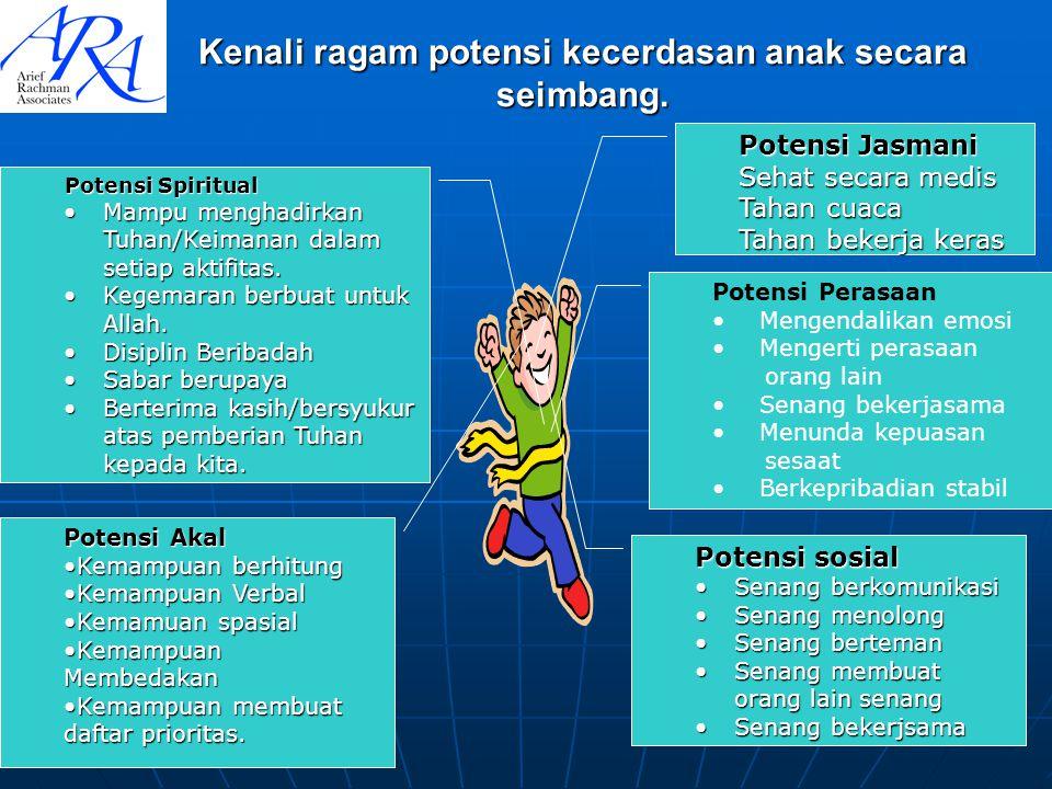 Kenali ragam potensi kecerdasan anak secara seimbang.