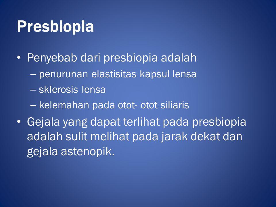 Presbiopia Penyebab dari presbiopia adalah