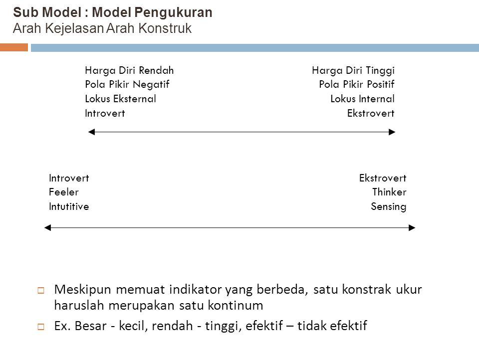 Sub Model : Model Pengukuran Arah Kejelasan Arah Konstruk