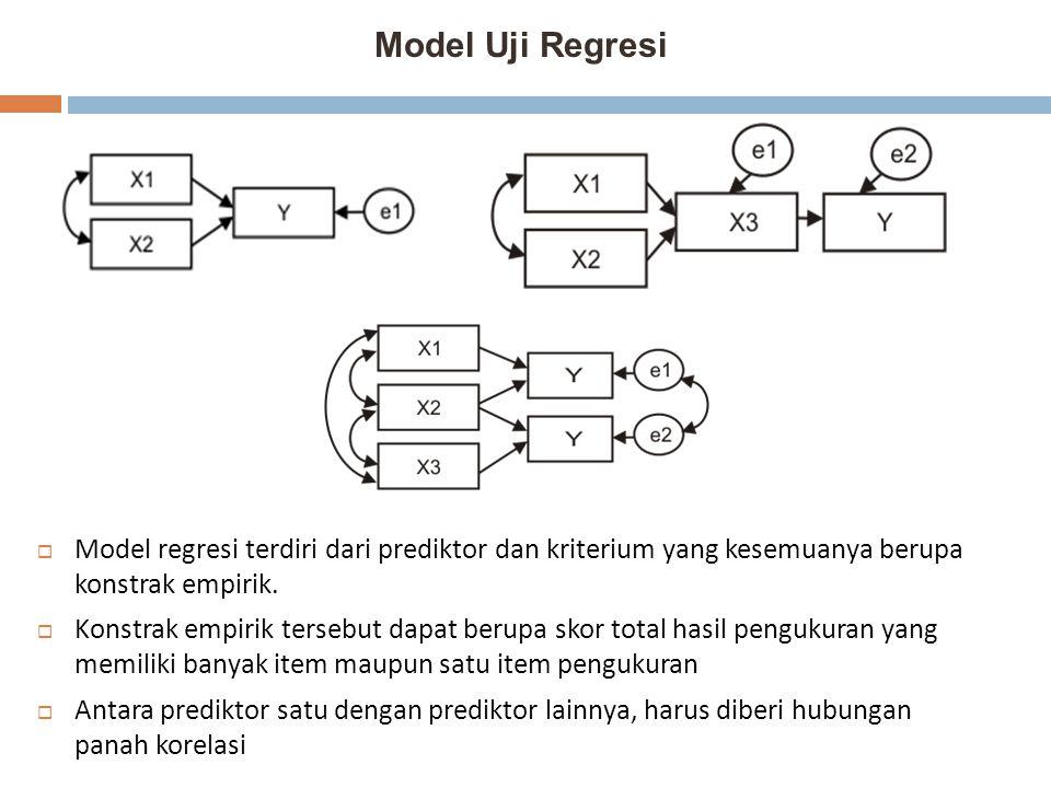 Model Uji Regresi Model regresi terdiri dari prediktor dan kriterium yang kesemuanya berupa konstrak empirik.