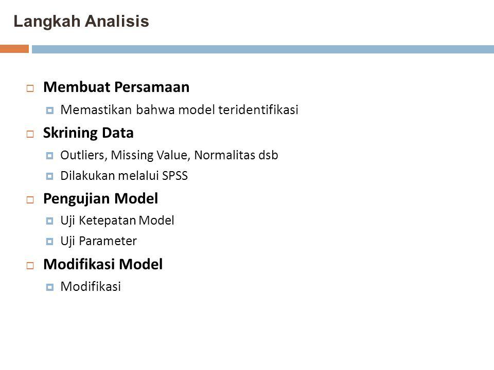 Langkah Analisis Membuat Persamaan Skrining Data Pengujian Model