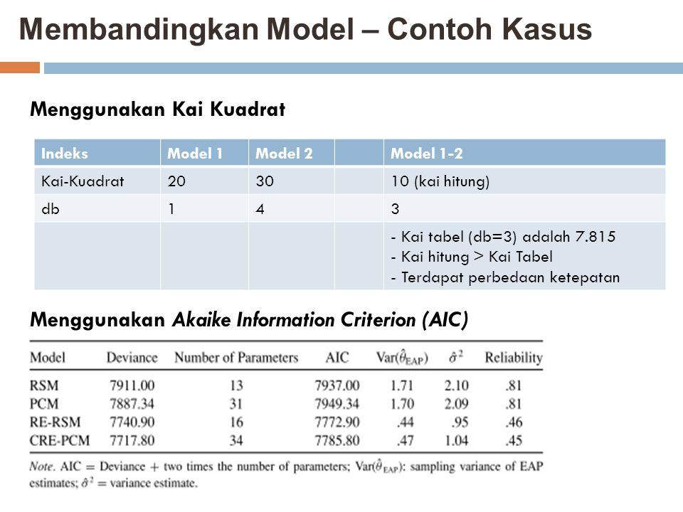 Membandingkan Model – Contoh Kasus
