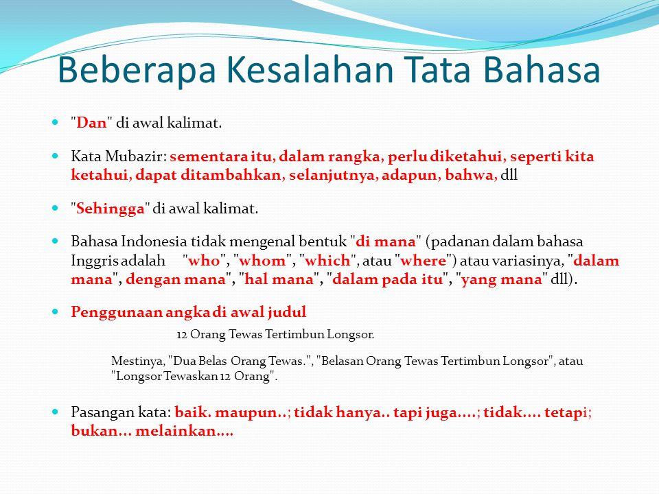 Beberapa Kesalahan Tata Bahasa