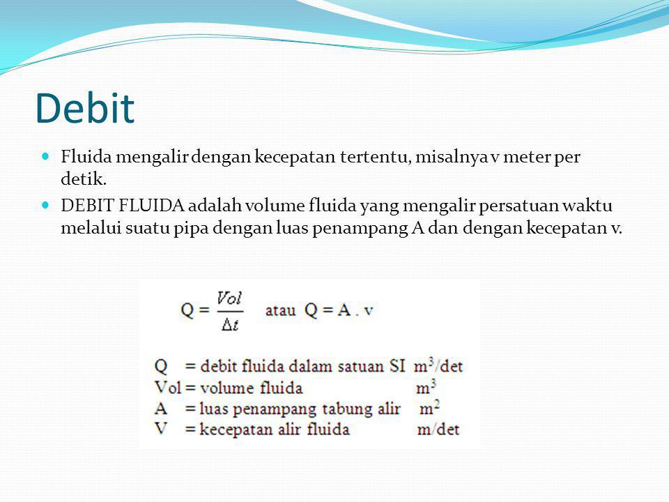 Debit Fluida mengalir dengan kecepatan tertentu, misalnya v meter per detik.