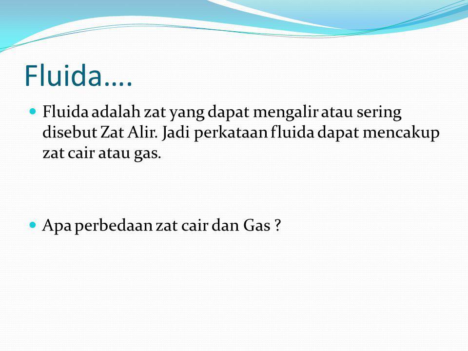 Fluida…. Fluida adalah zat yang dapat mengalir atau sering disebut Zat Alir. Jadi perkataan fluida dapat mencakup zat cair atau gas.