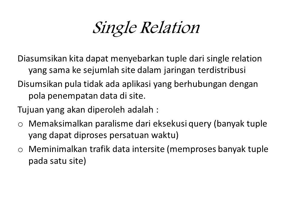 Single Relation Diasumsikan kita dapat menyebarkan tuple dari single relation yang sama ke sejumlah site dalam jaringan terdistribusi.