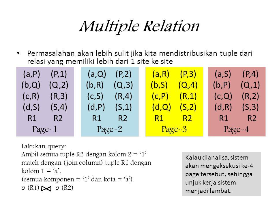 Multiple Relation (a,P) (P,1) (b,Q) (Q,2) (c,R) (R,3) (d,S) (S,4)