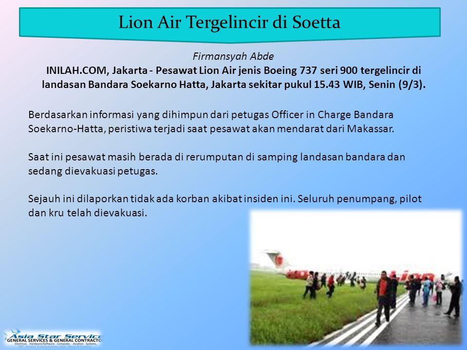 Lion Air Tergelincir di Soetta