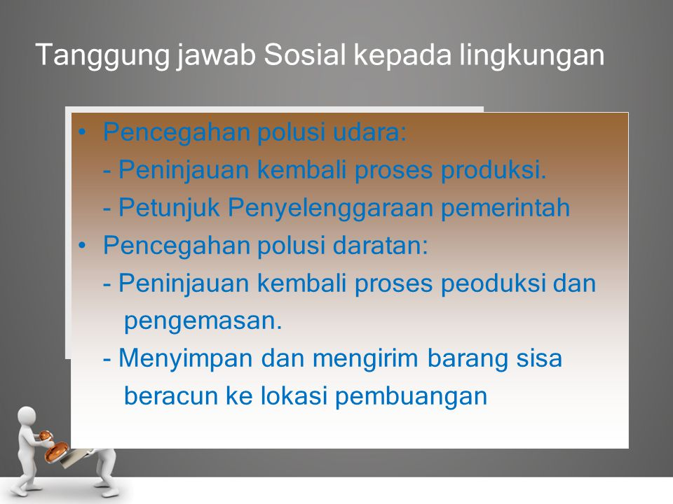 Tanggung jawab Sosial kepada lingkungan