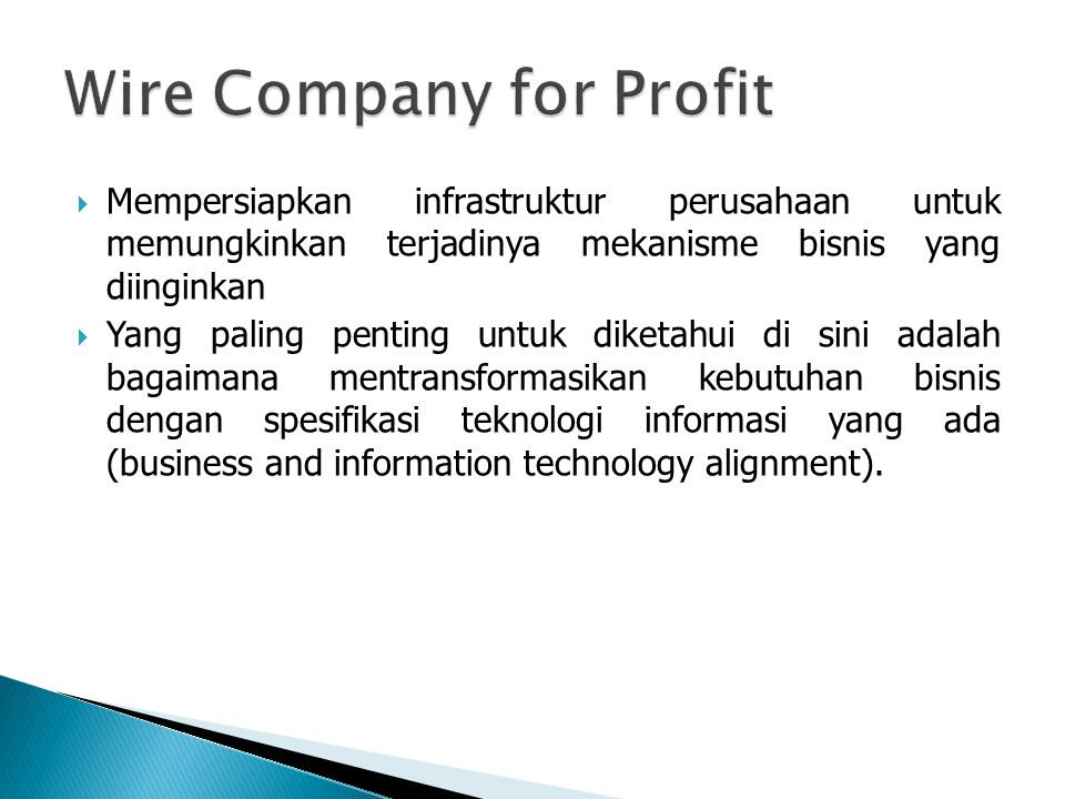 Wire Company for Profit