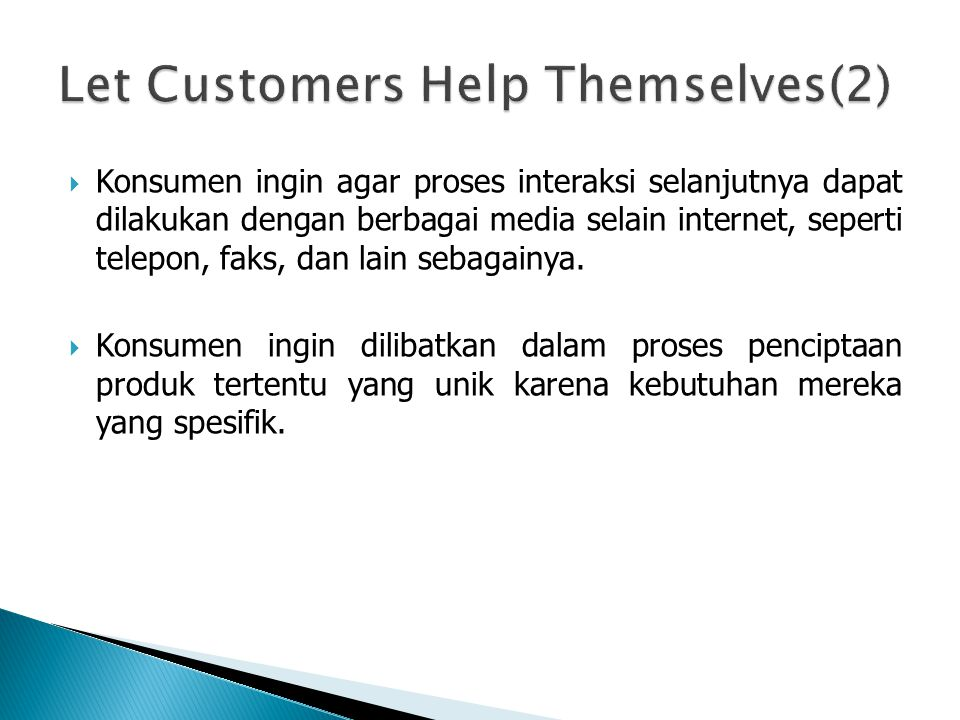 Let Customers Help Themselves(2)