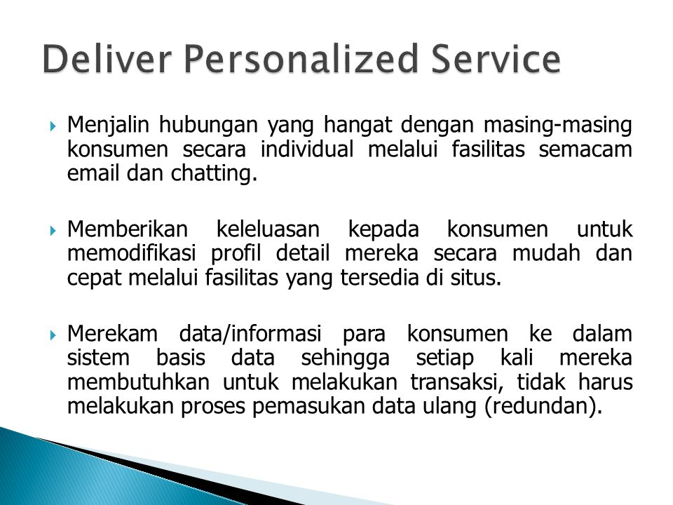 Deliver Personalized Service