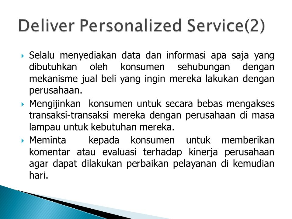 Deliver Personalized Service(2)