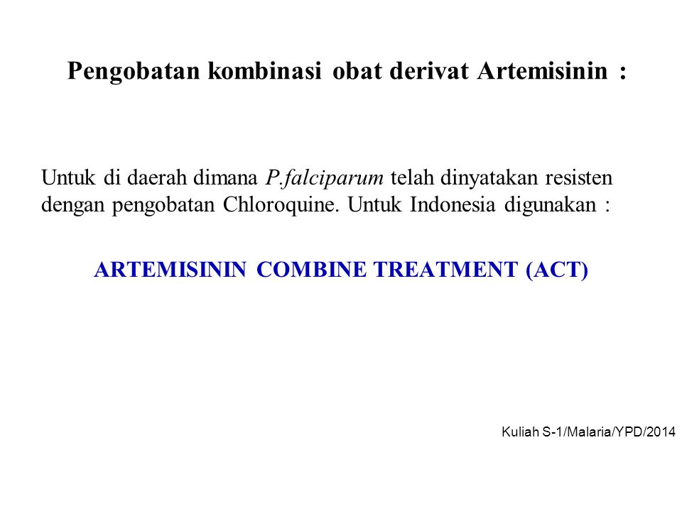 Pengobatan kombinasi obat derivat Artemisinin :