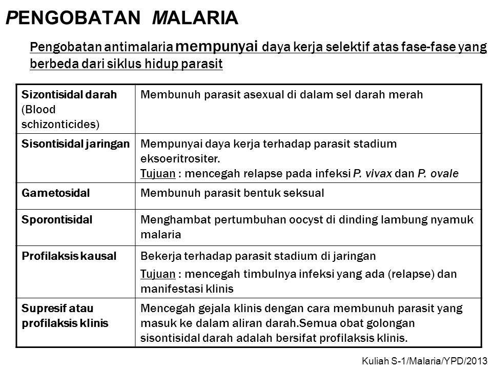 PENGOBATAN MALARIA Pengobatan antimalaria mempunyai daya kerja selektif atas fase-fase yang berbeda dari siklus hidup parasit.