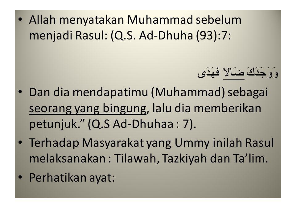 Allah menyatakan Muhammad sebelum menjadi Rasul: (Q. S