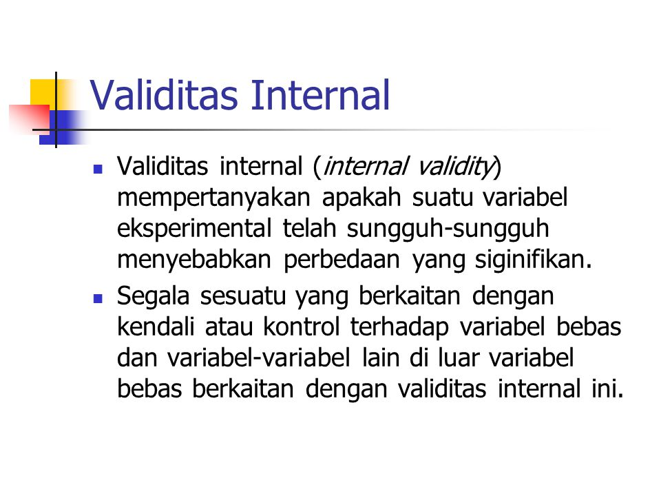 Validitas Internal