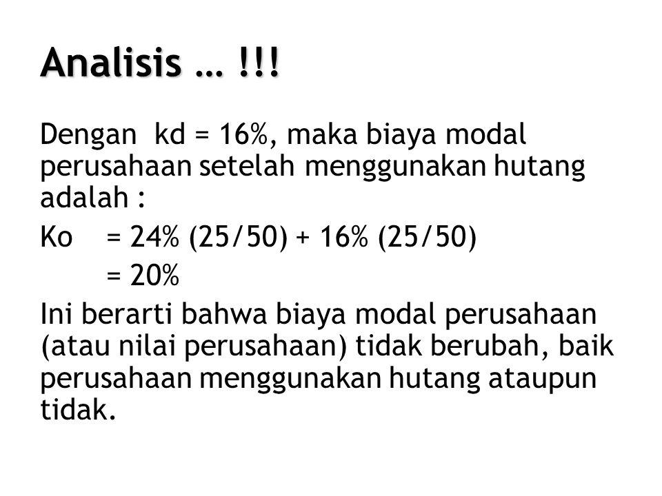 Analisis … !!! Dengan kd = 16%, maka biaya modal perusahaan setelah menggunakan hutang adalah : Ko = 24% (25/50) + 16% (25/50)