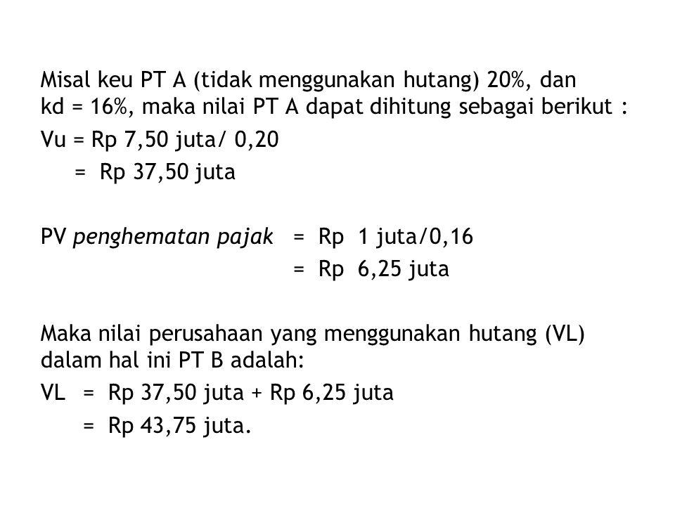 Misal keu PT A (tidak menggunakan hutang) 20%, dan kd = 16%, maka nilai PT A dapat dihitung sebagai berikut :