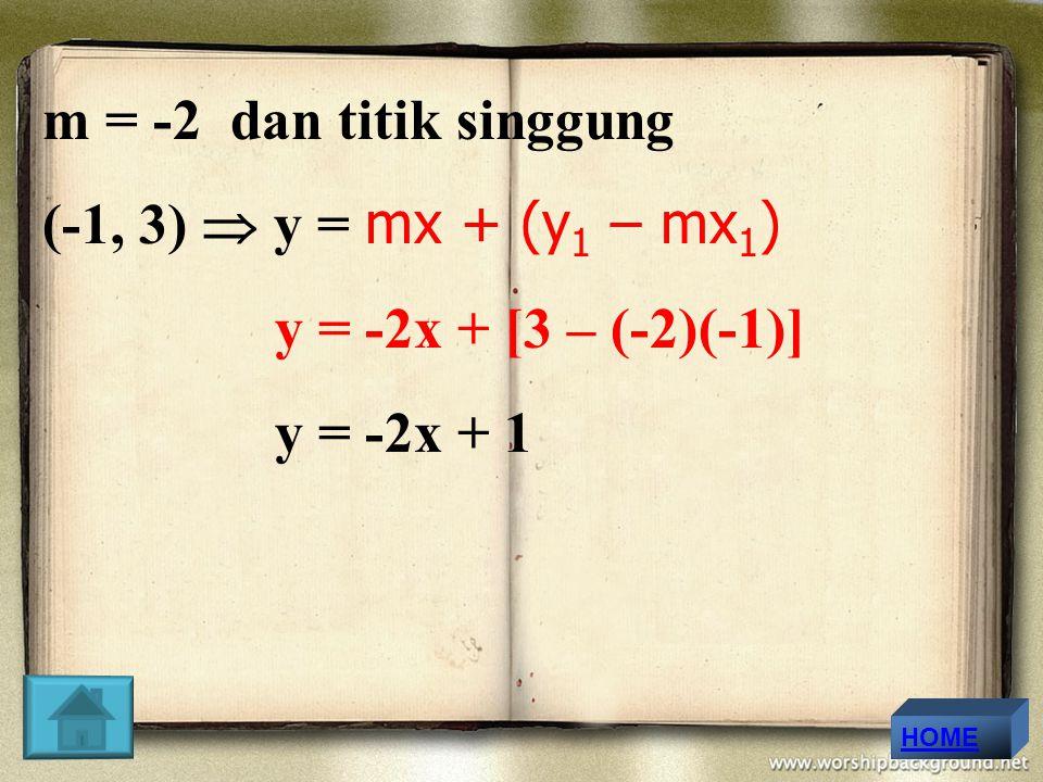 m = -2 dan titik singgung (-1, 3)  y = mx + (y1 – mx1)