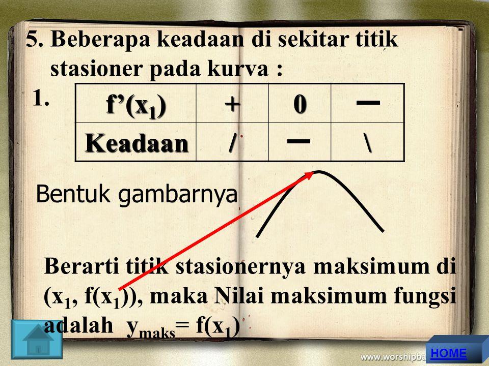 f'(x1) + Keadaan / \ 5. Beberapa keadaan di sekitar titik