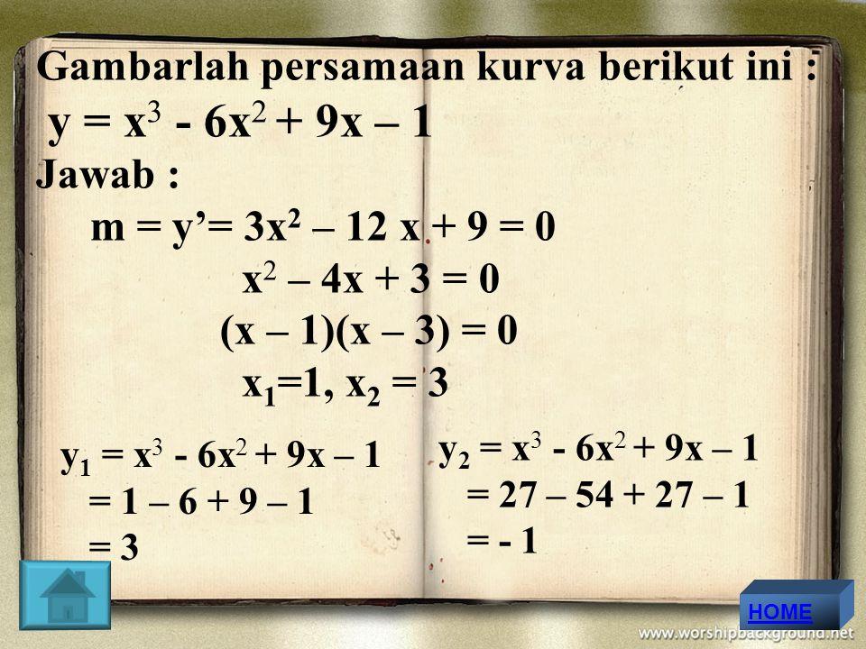 y = x3 - 6x2 + 9x – 1 Gambarlah persamaan kurva berikut ini : Jawab :
