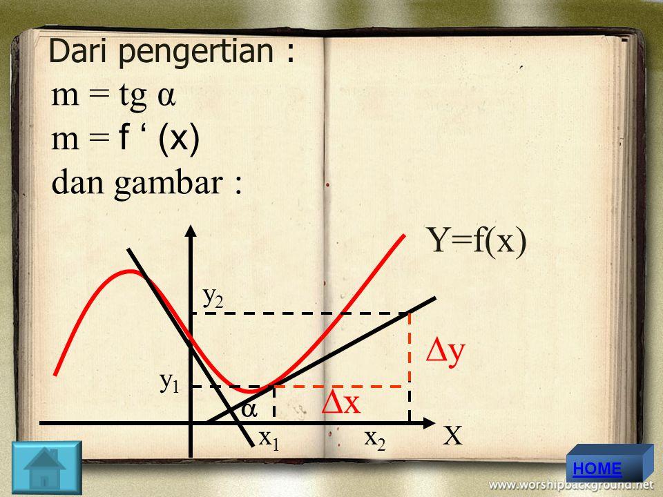 m = tg α m = f ' (x) dan gambar : Y=f(x) y x Dari pengertian : y2 y1
