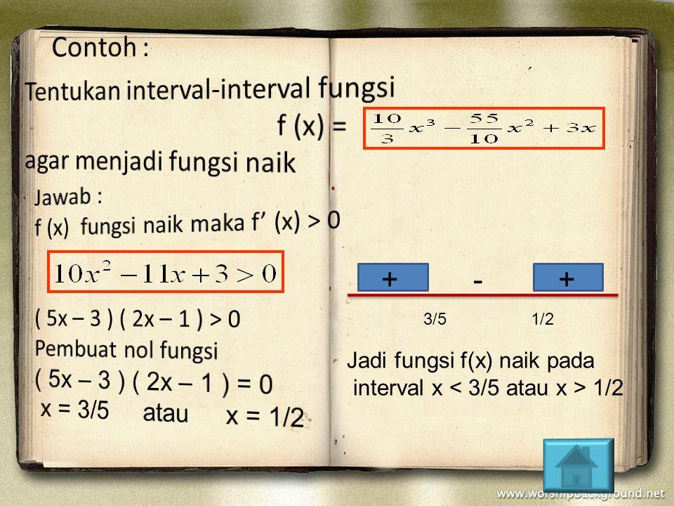 Tentukan interval-interval fungsi f (x) = agar menjadi fungsi naik