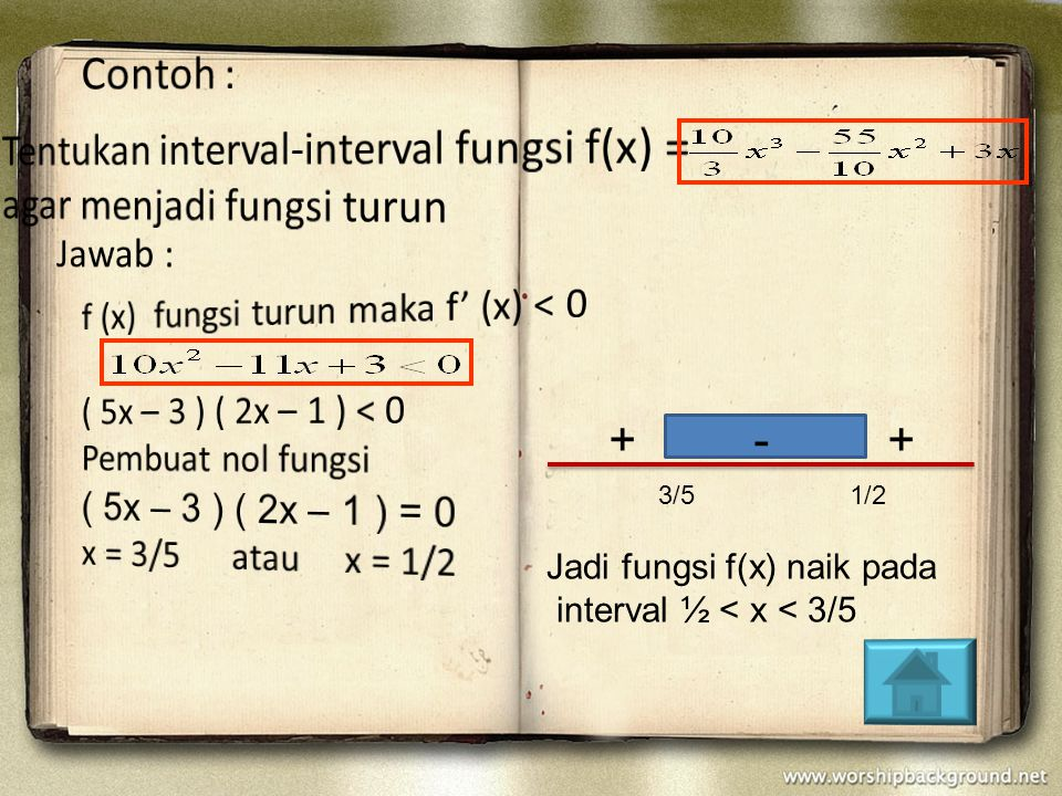 Tentukan interval-interval fungsi f(x) = agar menjadi fungsi turun