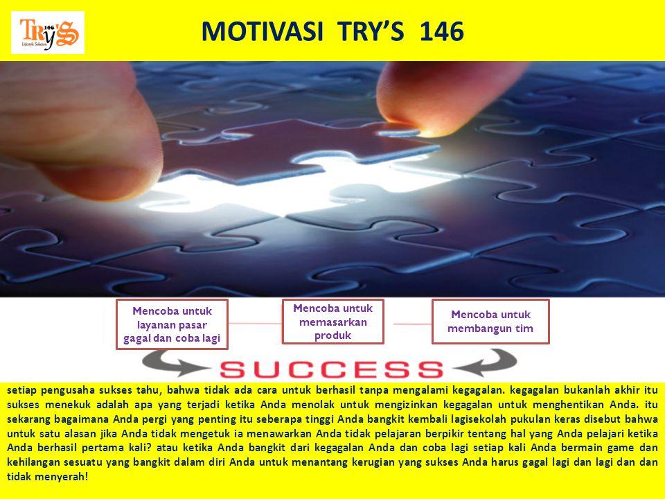 MOTIVASI TRY'S 146 Mencoba untuk layanan pasar gagal dan coba lagi. Mencoba untuk memasarkan produk.