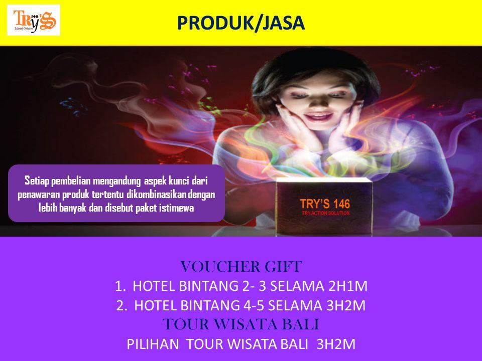 PRODUK/JASA VOUCHER GIFT HOTEL BINTANG 2- 3 SELAMA 2H1M