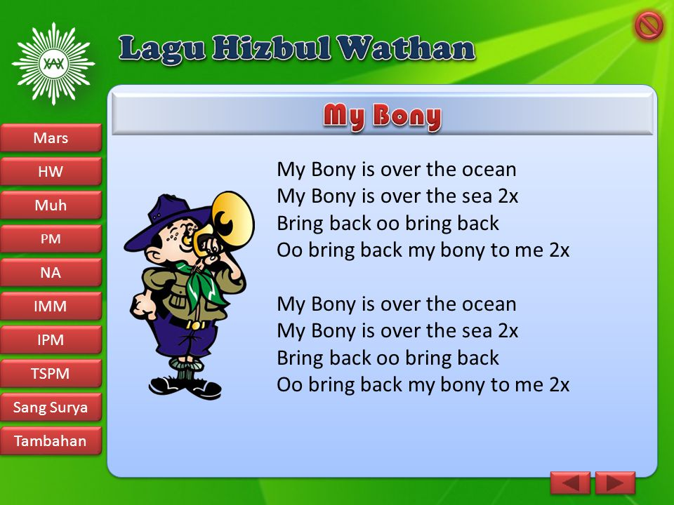 Lagu Hizbul Wathan My Bony My Bony is over the ocean
