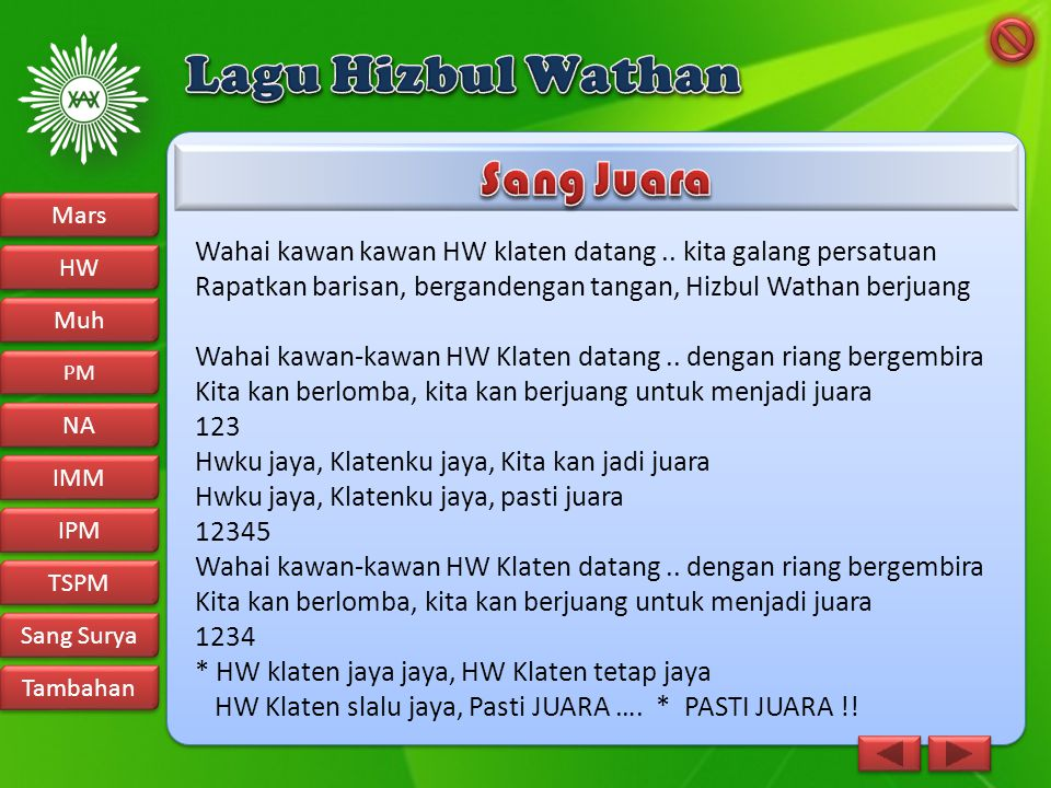 Lagu Hizbul Wathan Sang Juara