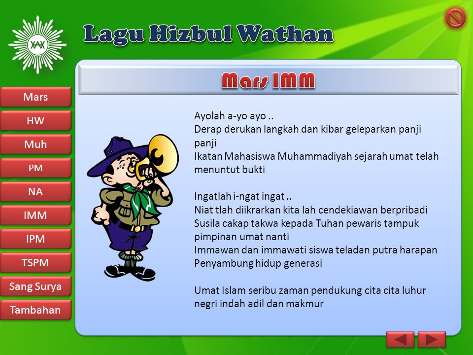 Lagu Hizbul Wathan Mars IMM Mars HW Muh NA IMM IPM TSPM Sang Surya