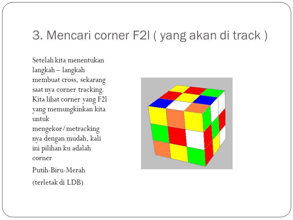 3. Mencari corner F2l ( yang akan di track )