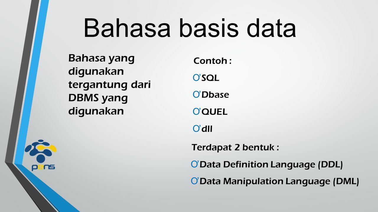 Bahasa basis data Bahasa yang digunakan tergantung dari DBMS yang digunakan. Contoh : SQL. Dbase.