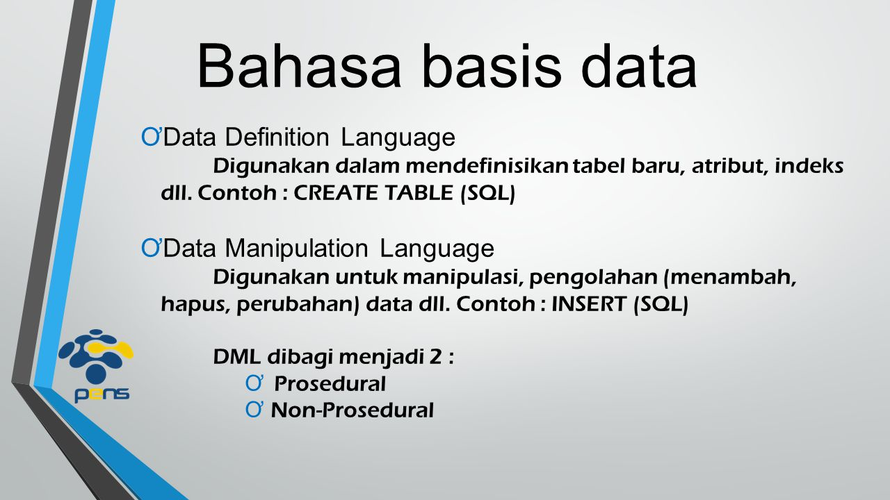 Bahasa basis data Data Definition Language Data Manipulation Language