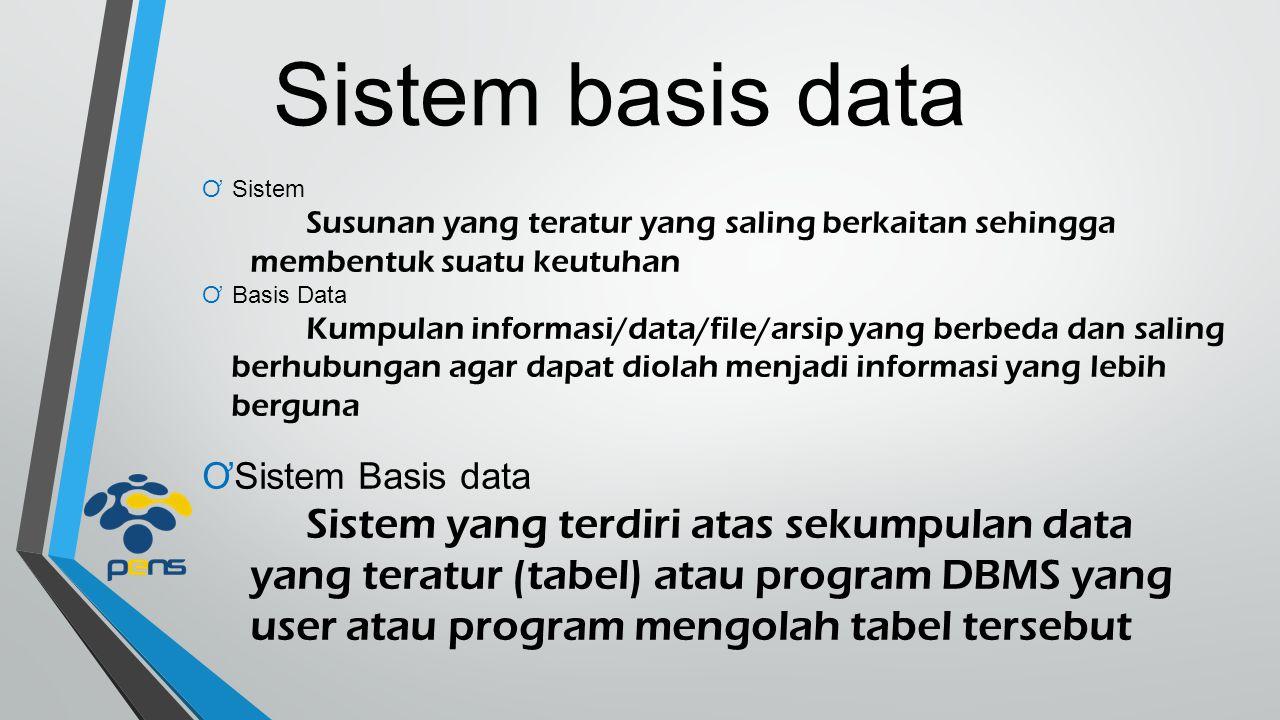 Sistem basis data Sistem. Susunan yang teratur yang saling berkaitan sehingga membentuk suatu keutuhan.