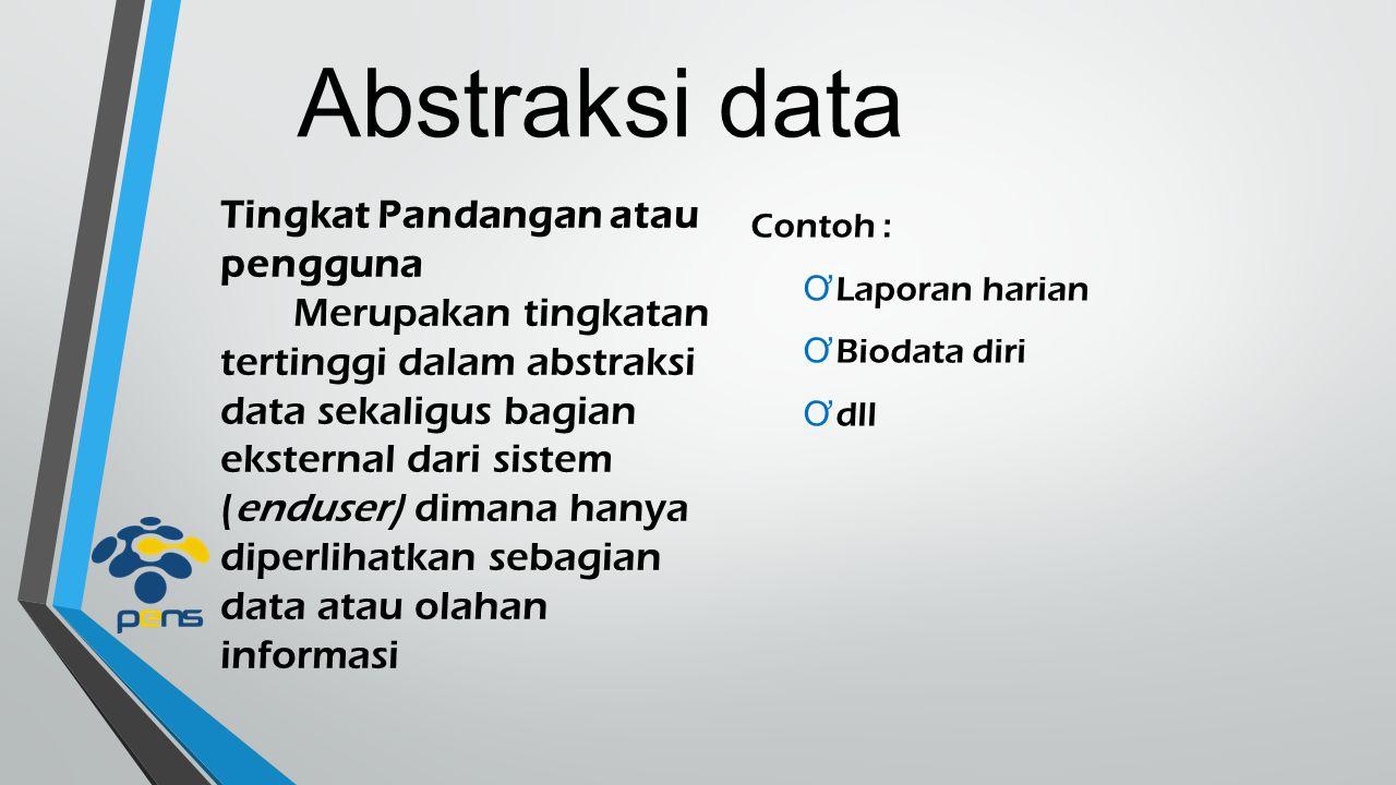 Abstraksi data Tingkat Pandangan atau pengguna