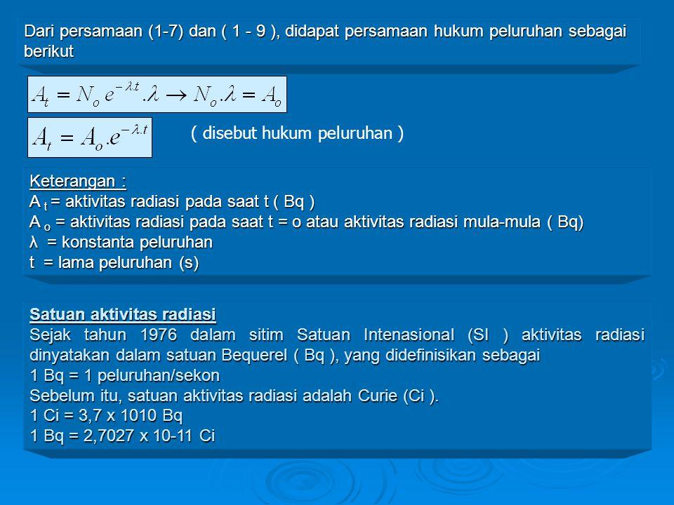 Dari persamaan (1-7) dan ( 1 - 9 ), didapat persamaan hukum peluruhan sebagai berikut