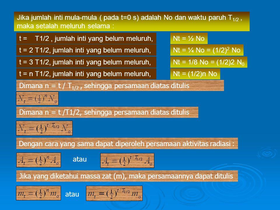 Jika jumlah inti mula-mula ( pada t=0 s) adalah No dan waktu paruh T1/2 , maka setalah meluruh selama :