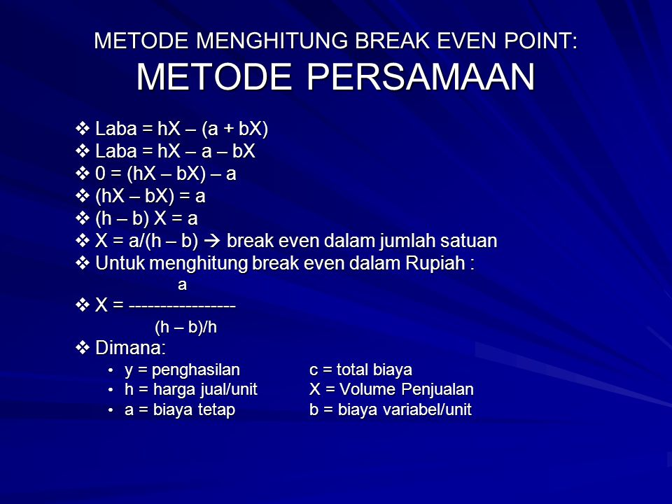 METODE MENGHITUNG BREAK EVEN POINT: METODE PERSAMAAN