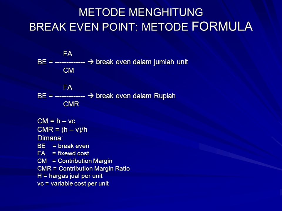 METODE MENGHITUNG BREAK EVEN POINT: METODE FORMULA