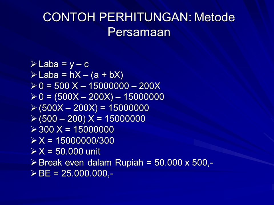 CONTOH PERHITUNGAN: Metode Persamaan