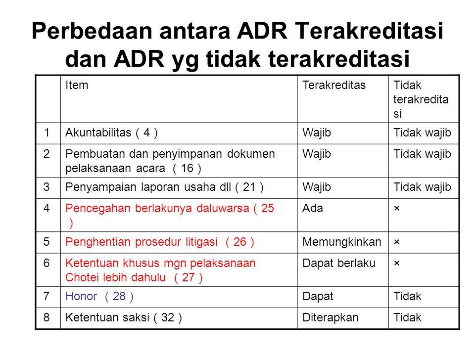 Perbedaan antara ADR Terakreditasi dan ADR yg tidak terakreditasi