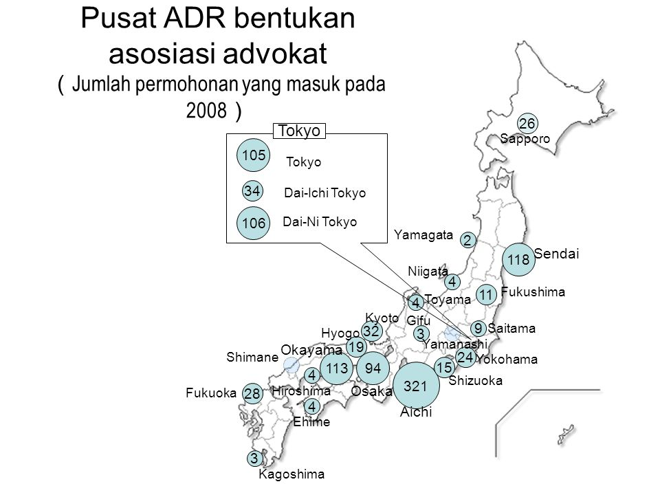 Pusat ADR bentukan asosiasi advokat (Jumlah permohonan yang masuk pada 2008)